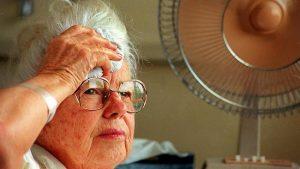 Senior suffering through a heatwave