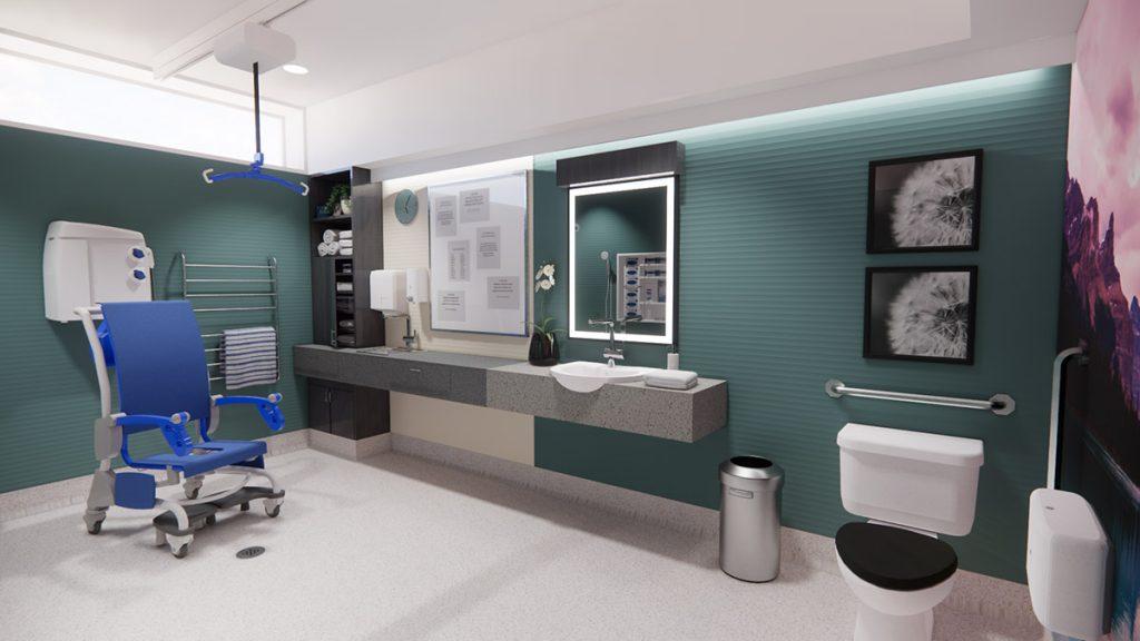 Shower Room after renovation of Peel Region Long Term Care Renovation