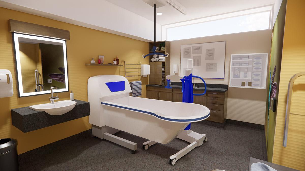 Tub Room after renovation of Peel Region Long Term Care Renovation